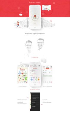 Like the upper part. Colored shapes, combined with illustrations/graphics. #web #design (Pharmacy Locator Ios App.)