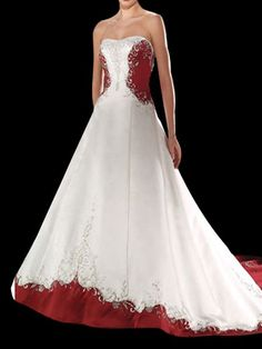 White and red wedding dress.