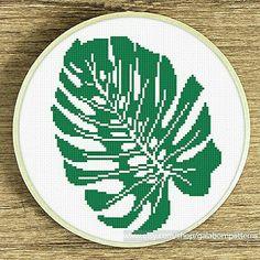 Monsters leaf cross stitch pattern Modern cross stitch