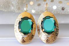 EMERALD EARRINGS Bridesmaid Gift Leverback Earrings
