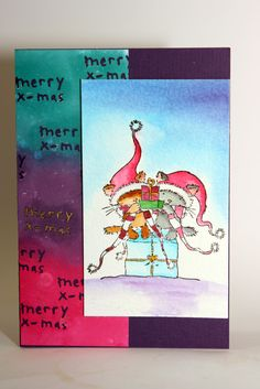 Christmas card, using Lili of the Valley stamp, peerless watercolour, distress inks and HEMA merry x-mas punch