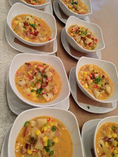 Crawfish Boil Soup (or crawfish boil items prepared and in small bowls/serving cups)