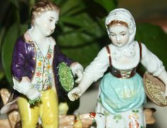 Vintage Antique Volkstedt Porcelain Figurine young couple feeding ducks, chickens and geese Made in Germany by schmoosbargains on Etsy https://www.etsy.com/listing/203098082/vintage-antique-volkstedt-porcelain