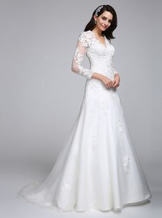 3e4df78f91 A-Line V Neck Sweep   Brush Train Satin   Lace Over Tulle Made-To-Measure Wedding  Dresses with Appliques by LAN TING BRIDE®   Illusion Sleeve   Open Back ...