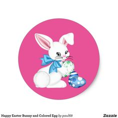Happy Easter Bunny and Colored Egg Classic Round Sticker