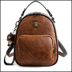 Leisure Multi-function Shoulder Bag Handbag PU Cute Cartoon Bee Decor Student Backpack #bag #Backpack #school #Bee #cartoon Lace Backpack, Retro Backpack, Striped Backpack, Floral Backpack, Backpack For Teens, Fashion Backpack, Cute Backpacks, Girl Backpacks, College Backpacks