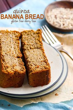Healthy gluten free banana bread made with cooked quinoa. A super easy to make, dairy free, naturally high in protein, gluten free banana bread. Made with REAL food ingredients that already in your pantry! Perfect for breakfast or snacking!