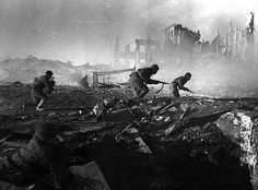 Soviet soldiers advance among the rubble in Stalingrad. During seven months, the Germans and the Soviets fought to control this strategic point. The city was completely reduced to ruins, and both armies became engaged in close combat and urban warfare. Had the Germans won this battle, they might have defeated the Soviet Union. The Germans surrendered in late January 1943.