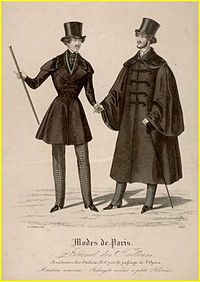 Men's fashion silhouette of 1837 shows broad shoulders and a narrow, tightly cinched waist.