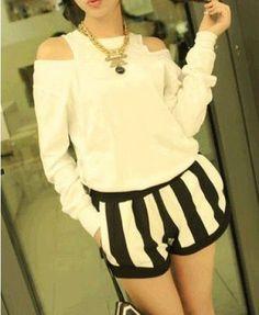 Monochrome Stripe Shorts