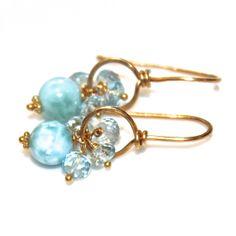 #Caribbean #Larimar #Earrings Sky Blue #Topaz Gold Wire Hoops by #FizzCandy, $54.00