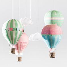 DIY Hot Air Balloon mobile - beautiful for nursery, baby shower or wedding decor.