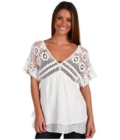 """Christin Michaels - very easy to add to   t shirt or blouse bottom...2 long rectangles, one on each side front to back with any kind of pattern you want ranging from simple to elaborate...joined at sides to make sleeves and at front and back centre to creat a more shallow """"V"""" neck."""