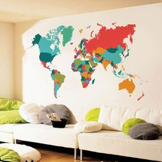 Color World Map Wall Decal