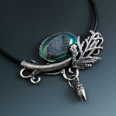 Contemporary Jewelry Design by Holly Gage Sculpted Fine silver and quartz drusy.