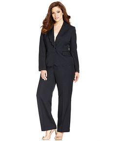 Kasper Plus Size Single-Button Scalloped Blazer & Bootcut Dress Pants - Wear to Work - Plus Sizes - Macy's