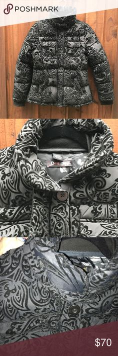 "DESIGUAL BROCADE textured BLACK COAT size 42 US12 COAT IS BLACK not light like the photos show. I bought this new and never wore it. This is a DESIGUAL BY CHRISTIAN LACROIX BROCADE BLACK COAT 44 / US 14. The neck is extra plush and feels so warm. The entire coat is very comfortable, flattering and stylish. There are zippers and snaps at the hip to open it up. Each pocket has snaps to lie flat. Just the right amount of puff for warmth without the bulk. Gorgeous! length: 26"" armpit to armpit…"