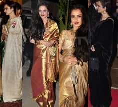 rekha Saree | The ageless Rekha, draped in her gold Kanjeevarams, could give girls ...