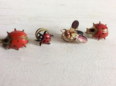 Insect Pins - 4 x Vintage 1940s 1950s Painted Ladybird Ladybug Beetle Bug Fly Insect Brooches Buttonholes Pins by KeetleyCollectables on Etsy https://www.etsy.com/uk/listing/517306350/insect-pins-4-x-vintage-1940s-1950s