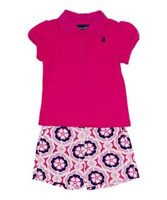 Fuchsia Polo & Floral Shorts - Infant & Toddler by Rugged Bear #zulily #zulilyfinds