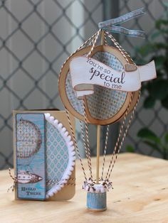 Paper hot air balloon with wooden spool base - cute - bjl