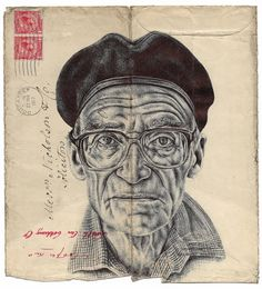 'along the seine' bic biro drawing on a antique envelope | Contemporary Collective