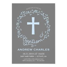 Baptism Christening Invitation - Baby Boy Invite #baptism #christening #invite #invitation #card