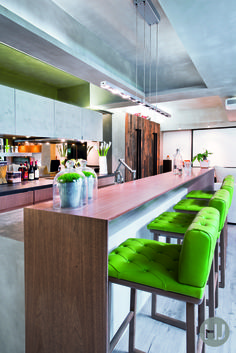 Brighton up your kitchen with some great bright furniture, like these luxurious buttoned bar stools. Home Journal, November 2014.