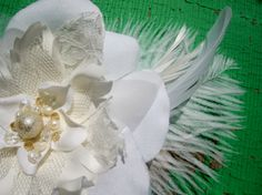 Ivory Wedding Flower Fascinator with pearls & crystals, GEORGIANA design, CUSTOM colors available $52