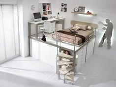 Small bedroom ideas with queen bed for girls kids loft beds from queen loft bed girls Loft Beds For Teens, Kids Bunk Beds, Lofted Beds, Cool Loft Beds, Bunk Bed With Desk, Desk Bed, Dresser Bed, Table Desk, Bunk Bed Designs