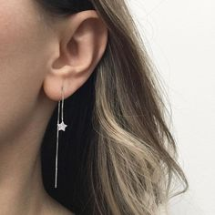 These beautiful hammered Pendulum earrings are minimalist and elegant. I form these earrings from a rounded, smooth bar and solder a hammered circle at the bottom. This textur Dangly Earrings, Moon Earrings, Star Earrings, Cute Earrings, Ear Jewelry, Jewelry Necklaces, Minimalist Earrings, Star Wars, Silver Stars