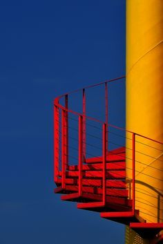 """PRIMARY CONTRAST Impulse by Eric """"Kala"""" Forey, via steps stairs stairways red yellow spiral exterior Minimal Photography, Photography Aesthetic, Yellow Photography, Photography Flyer, Photography Kids, Underwater Photography, Abstract Photography, Product Photography, Fashion Photography"""