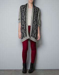 TWIST KNIT CARDIGAN WITH JACQUARD FRONT - Knitwear - Woman - ZARA United Kingdom