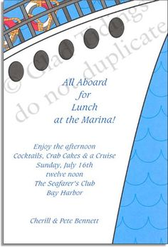 All aboard! This invitation shows the prow of a ship, with the railing and life savers visible at the top, against a blue ocean background.  The trendy, modern design makes it a great choice for any nautical or cruise themed event or announcement! <p>Premium quality cardstock includes coordinating envelope shown. Inkjet/laser compatible and available blank or personalized.</p>