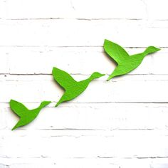 Flock Set of 3 flying ducks in stoneware ceramic finished in lime zest green £49.00