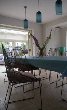 Based in Hertford, UK, our studio creates glass lighting to order using refined glassblowing skills and a careful selection of complementary suppliers. Kitchen Pendant Lighting, Kitchen Pendants, Dining Chairs, Dining Table, Arm Chairs, Stiffkey Blue, Chairs For Sale, Adirondack Chairs, Hand Blown Glass
