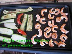 Crevettes à la plancha sauce au Zathar Grisaille, Saveur, Sauce, Zucchini, Sushi, Vegetables, Ethnic Recipes, Food, Prawn Shrimp