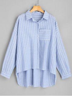 Oversized High Low Striped Shirt - STRIPE L