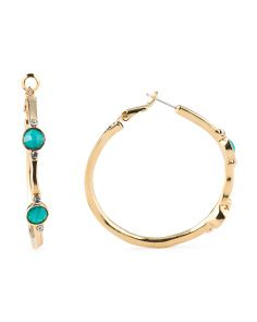 image of Turquoise Stone Crystal And Gold Tone Hoop Earrings Hoop Earrings 0dd0e5b77e