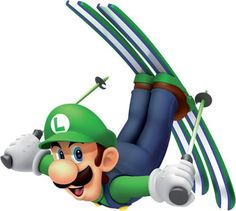 Luigi launching himself using his ski's from the official artwork set for #Mario and #Sonic at the #Olympic Winter Games on #Wii. #Mario. Visit for more info http://www.superluigibros.com/mario-and-sonic-winter-olympic-games