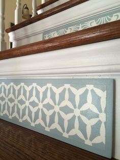 Stair Riser Ideas ~ Stair Art ~ Old House Projects ~ I love a good geometric pattern! This one has a nice balance of background and design. Part of a collection of stair risers painted in white and nickel, this one sure gets noticed! www.tributedesigns.etsy.com