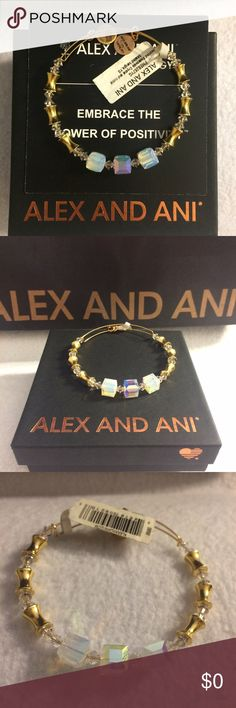 Exclusive RARE NWT Alex & Ani Swarovski NWT AUTHENTIC Alex and Ani bangle. These bead and color combinations are very rare, many are OOAK. Add shine and sparkle to your set.  •Swarovski beads: prismatic, reflective, clear beads •Shiny gold tone metal •Expandable wire bangle •Comes with box and generic meaning card * Note that A&A bracelets are made from recycled materials.  ‼️Communicate before purchasing. I have a few other bangles and I'm happy to bundle. REASONABLE offers welcome‼️ Alex…