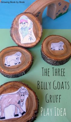 Playing pieces for The Three Billy Goats Gruff story from http://growingbookbybook.com