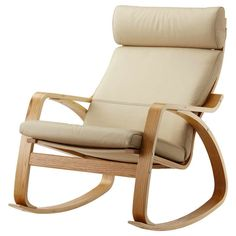 Modern Leather Rocking Chair With Color Beige