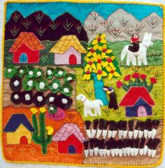 arpilleras - Buscar con Google Textiles, Costa, Gingerbread, Art Projects, Christmas Tree, Diy Crafts, Quilts, Embroidery, Sewing