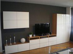 Banc TV Besta Ikea, beau mélange bois et blanc