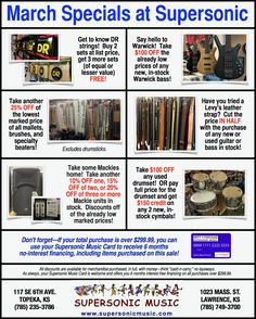 Great March Specials at Supersonic Music!