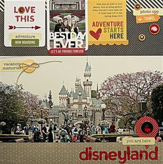 #papercraft #scrapbook #layout.  Summer-JBS-Disneyland