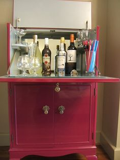 Stunning Vintage Burgundy Cocktail Drinks Cabinet Hugh Gloss Finish Bespoke | eBay