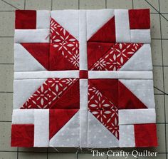 Nordic Mini QAL by Julie Cefalu @ The Crafty Quilter. I love this mini quilt block!Welcome to the Nordic Mini Quilt Along! This will be a red and white mini quilt that measures 14 square. Today's row is the Nordic Star!Would make a pretty Christmas quilt. Star Quilt Blocks, Star Quilts, Block Quilt, Patch Quilt, Quilt Baby, Mini Quilts, Quilting Projects, Quilting Designs, Quilting Ideas